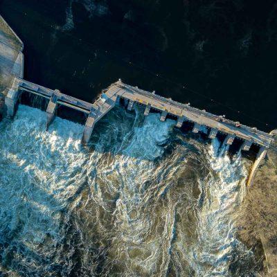 Dam below town